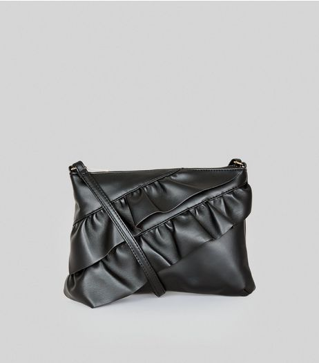 Black Frill Trim Shoulder Bag | New Look