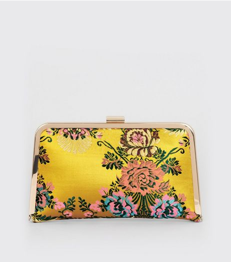 Yellow Sateen Floral Brocade Print Clutch | New Look