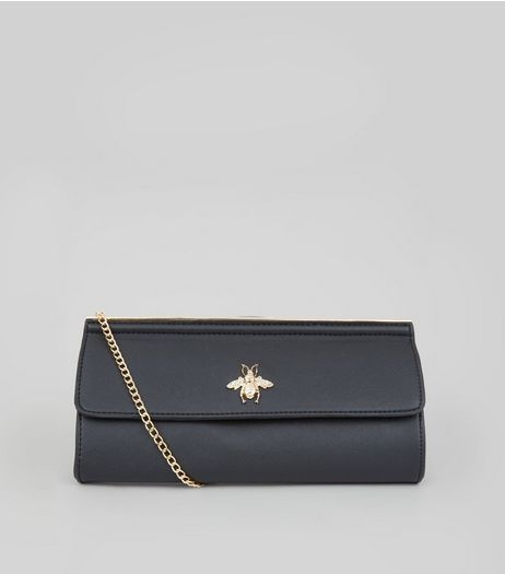 Black Bee Charm Clutch Bag | New Look