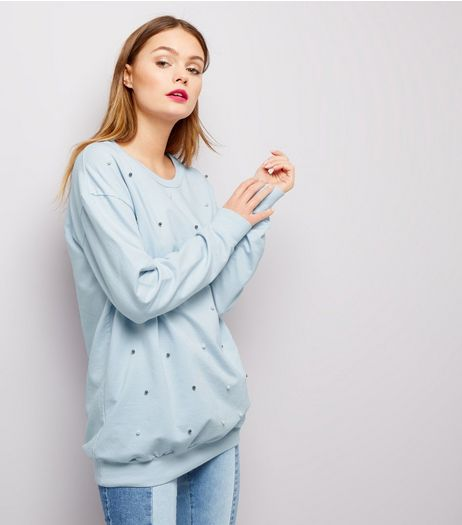 Cameo Rose Pale Blue Pearl Trim Sweater | New Look