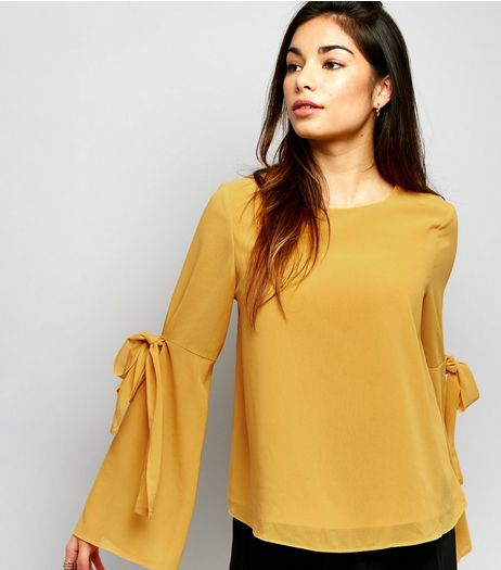 Cameo Rose Yellow Tie Sleeve Top  | New Look