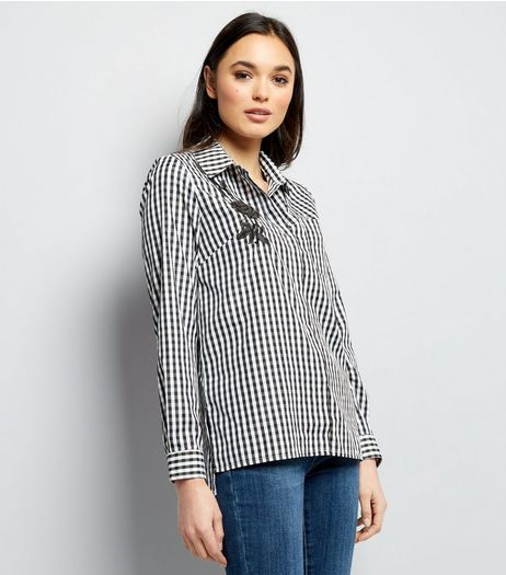 Cameo Rose Black Gingham Floral Embroidered Shirt | New Look