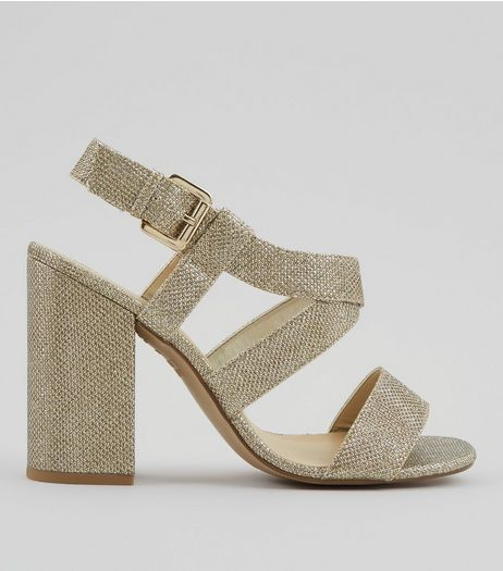 Gold Glitter Cross Strap Block Heels | New Look