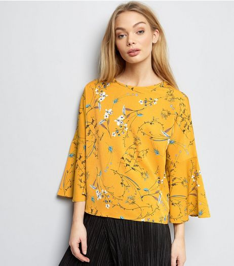 Cameo Rose Yellow Floral Print Frill Sleeve Top  | New Look