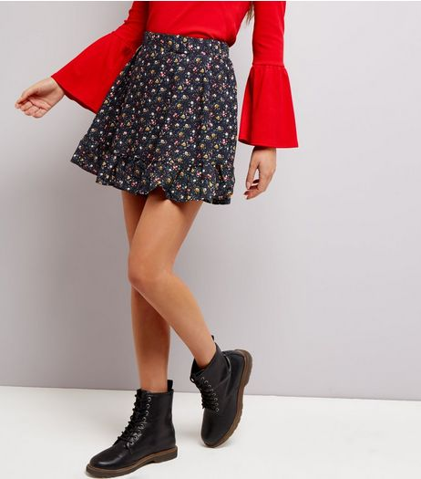 Cameo Rose Navy Floral Frill Trim Skirt | New Look