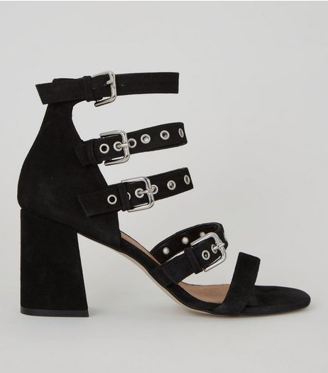 Black Suede Eyelet Buckle Strap Heeled Sandals | New Look