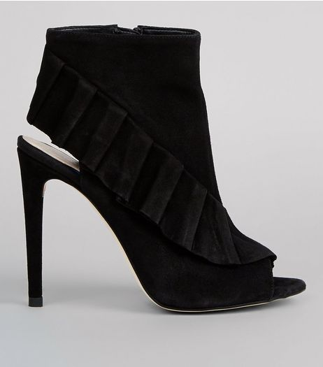 Black Suede Frill Trim Peep Toe Heels | New Look