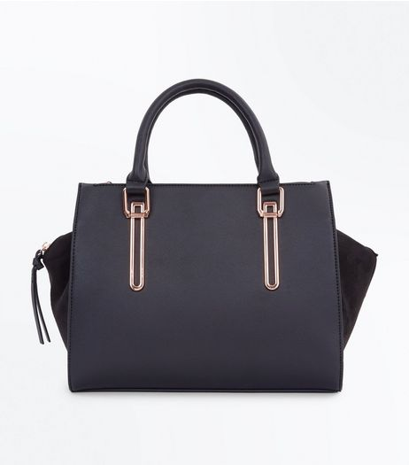 Black Metallic Trim Tote Bag  | New Look