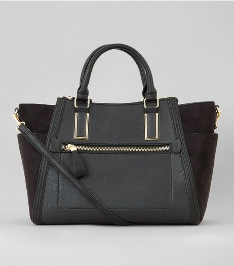 Black Suedette Panel Side Tote Bag | New Look