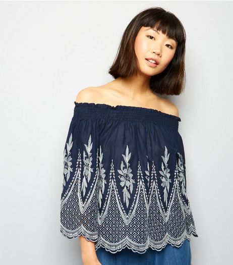 Cameo Rose Navy Embroidered Bardot Neck Top  | New Look