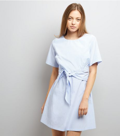 Blue Stripe Tie Waist Tunic Dress  | New Look