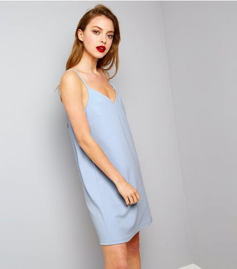 Pale Blue Scuba Mini Slip Dress | New Look