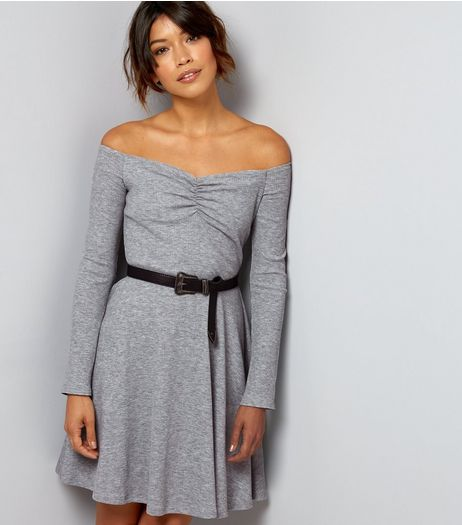 Dark Grey Ribbed Jersey Long Sleeve Bardot Neck Skater Dress | New Look