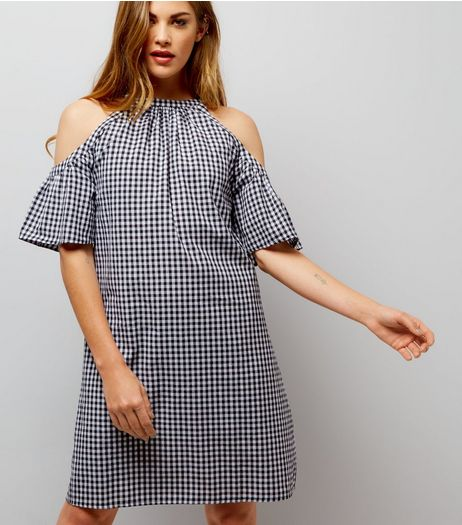 Black Gingham Cold Shoulder Dress | New Look