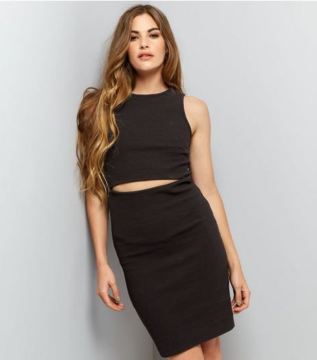Black Ribbed Cut Out Bodycon Dress | New Look