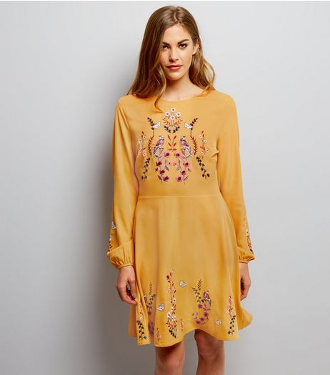 Yellow Bird Embroidered Skater Dress | New Look