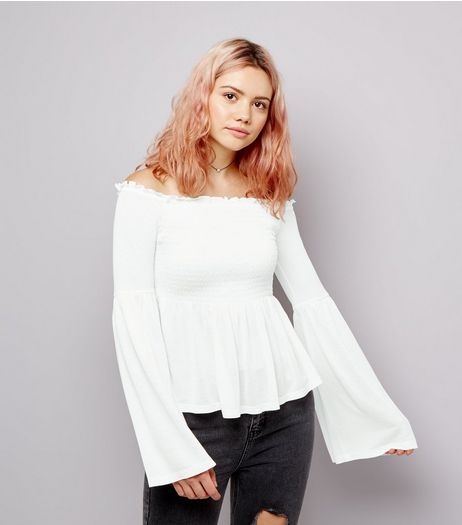 White Shirred Bardot Neck Flared Sleeve Top  | New Look