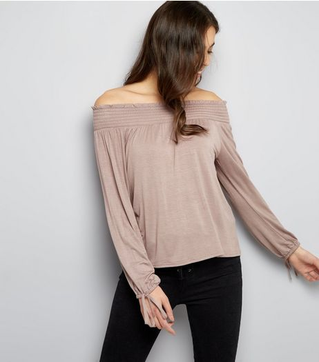 Mink Shirred Bardot Neck Tie Sleeve Top | New Look