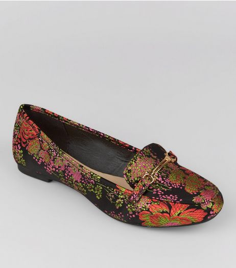 Teens Black Floral Brocade Loafers | New Look