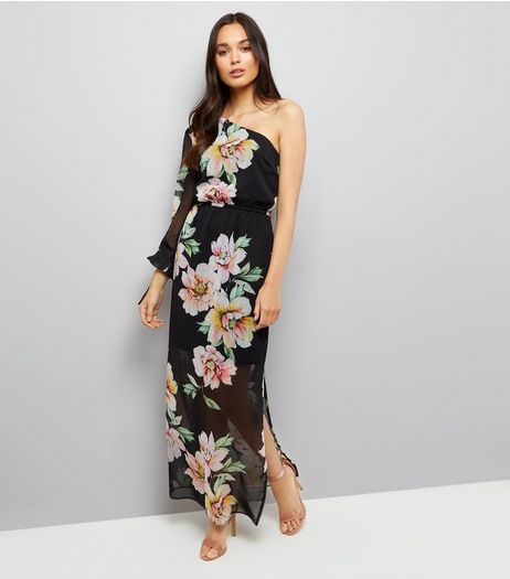 Black Floral Print Chiffon Maxi Dress  | New Look