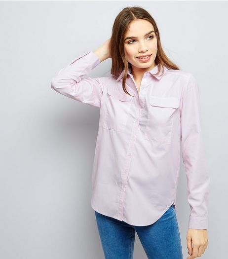 Cameo Rose Mid Pink Double Pocket Front Shirt  | New Look