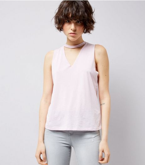 Lilac Choker Neck Cut Out Tank Top | New Look