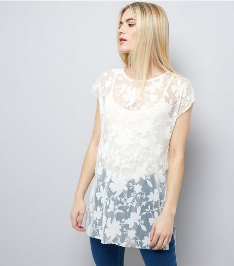 Cream Sheer Floral T-Shirt  | New Look