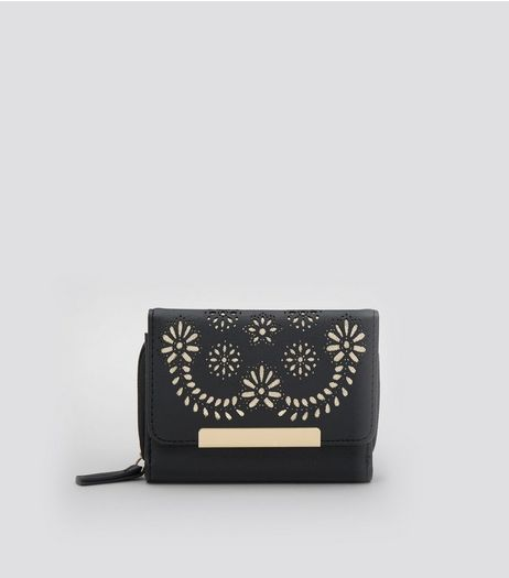 Black Floral Lasercut Purse | New Look