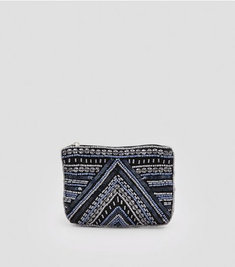 Navy Sequin Bead Embellished Purse | New Look