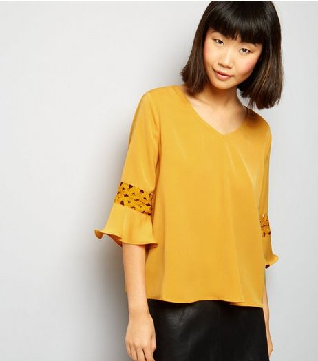Cameo Rose Yellow Crochet Lace Trim Top  | New Look