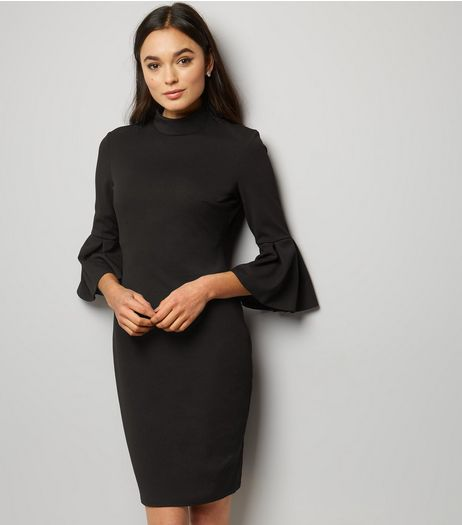 Blue Vanilla Black Bell Sleeve Dress | New Look