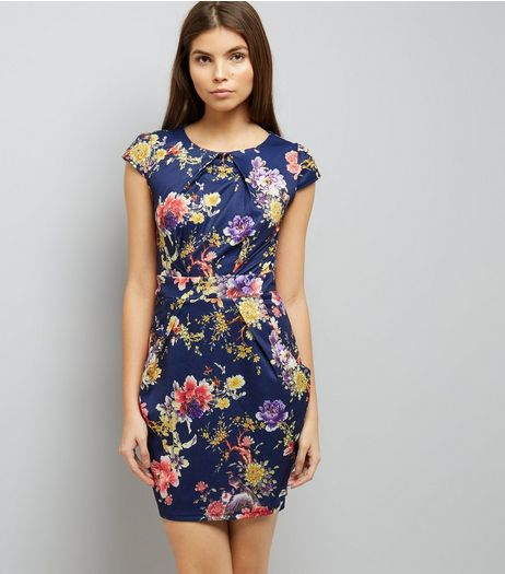 Blue Vanilla Navy Floral Print Bow Back Dress  | New Look