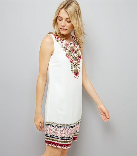 White Floral Border Print Tunic Dress | New Look