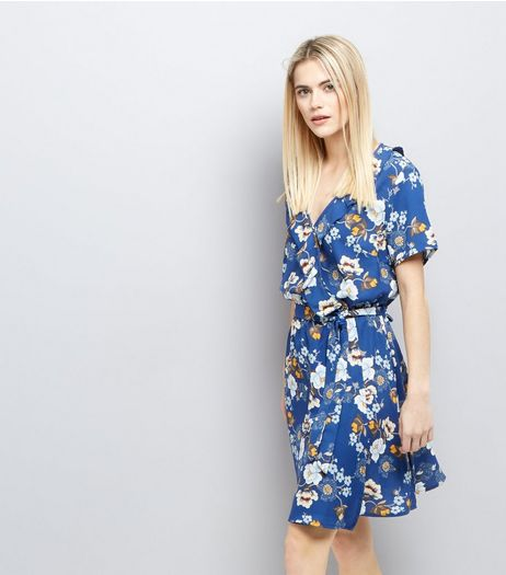 Blue Floral Print Frill Trim Wrap Front Dress  | New Look