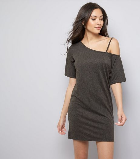Dark Grey Asymmetric Jersey Tunic | New Look
