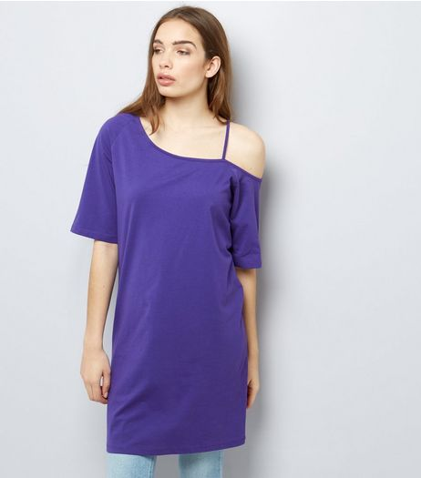 Dark Purple Asymmetric Jersey Tunic | New Look