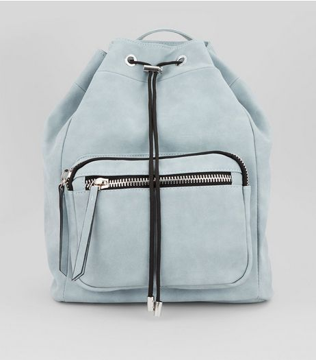 Pale Blue Chunky Zip Backpack  | New Look