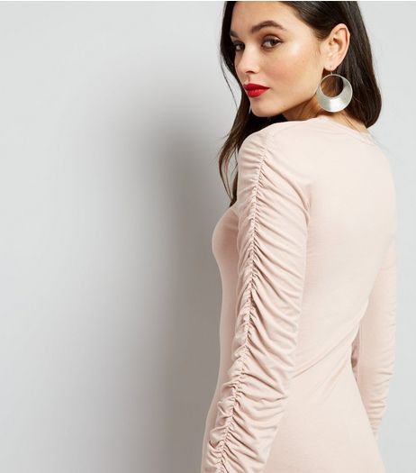 Mid Pink Ruched Sleeve Bodycon Dress | New Look