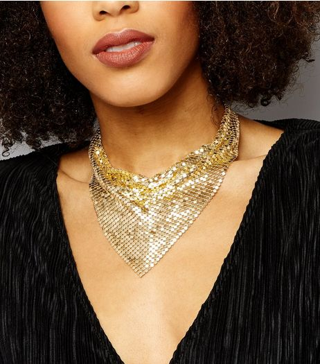 Gold Chain Mail Bib Necklace | New Look