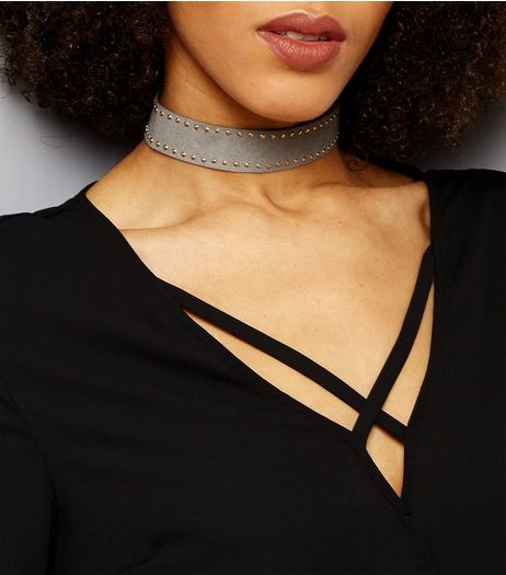 Grey Stud Trim Suedette Choker | New Look