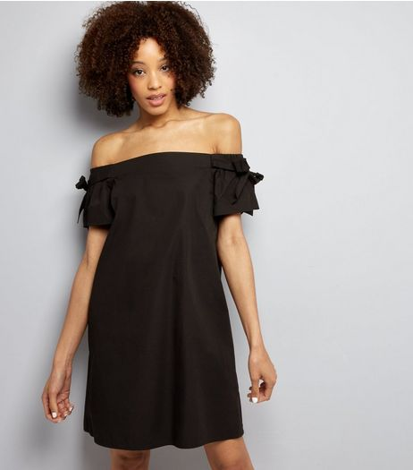 Black Bardot Neck Tie Sleeve Dress | New Look
