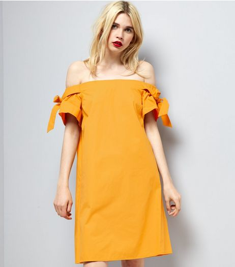 Yellow Bardot Neck Tie Sleeve Dress | New Look