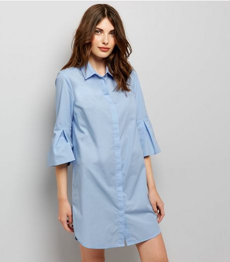 Blue Flared Sleeve Shirt Dress | New Look