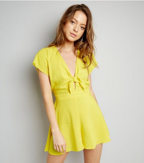 Yellow Tie Front Playsuit | New Look