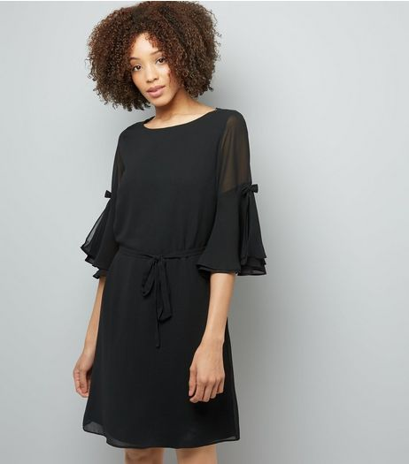 Black Chiffon Bow Bell Sleeve Tunic Dress | New Look