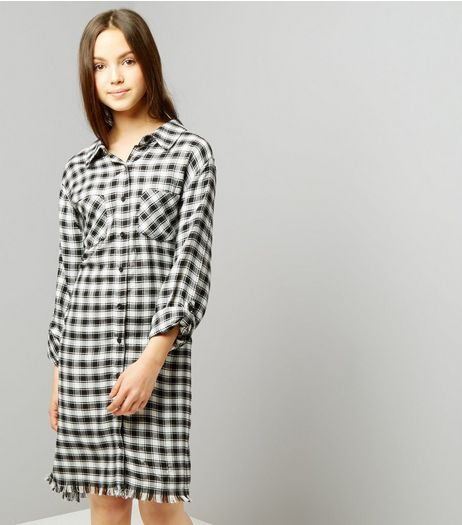 Teens Black Check Fray Hem Shirt Dress | New Look
