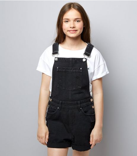 Teens Black Short Dungarees | New Look