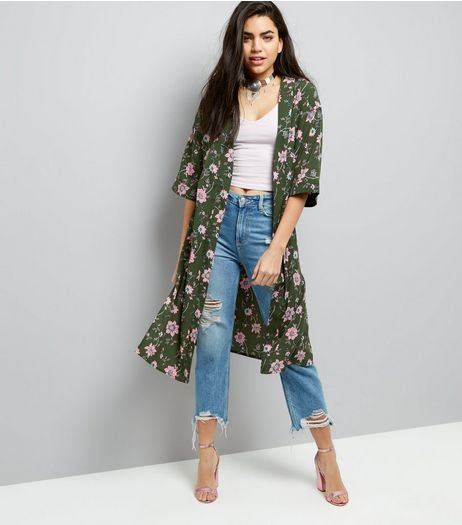 Innocence Green Floral Print Longline Kimono  | New Look