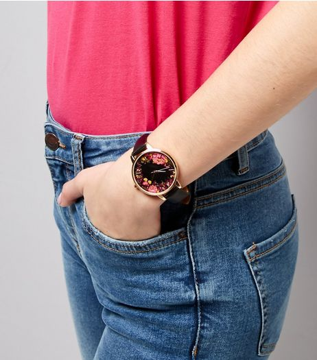 Black Floral Dial Watch | New Look