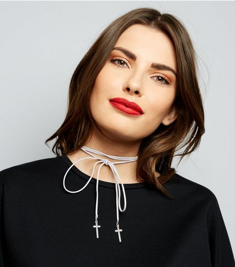 Grey Suedette Cross Charm Tie Up Choker | New Look